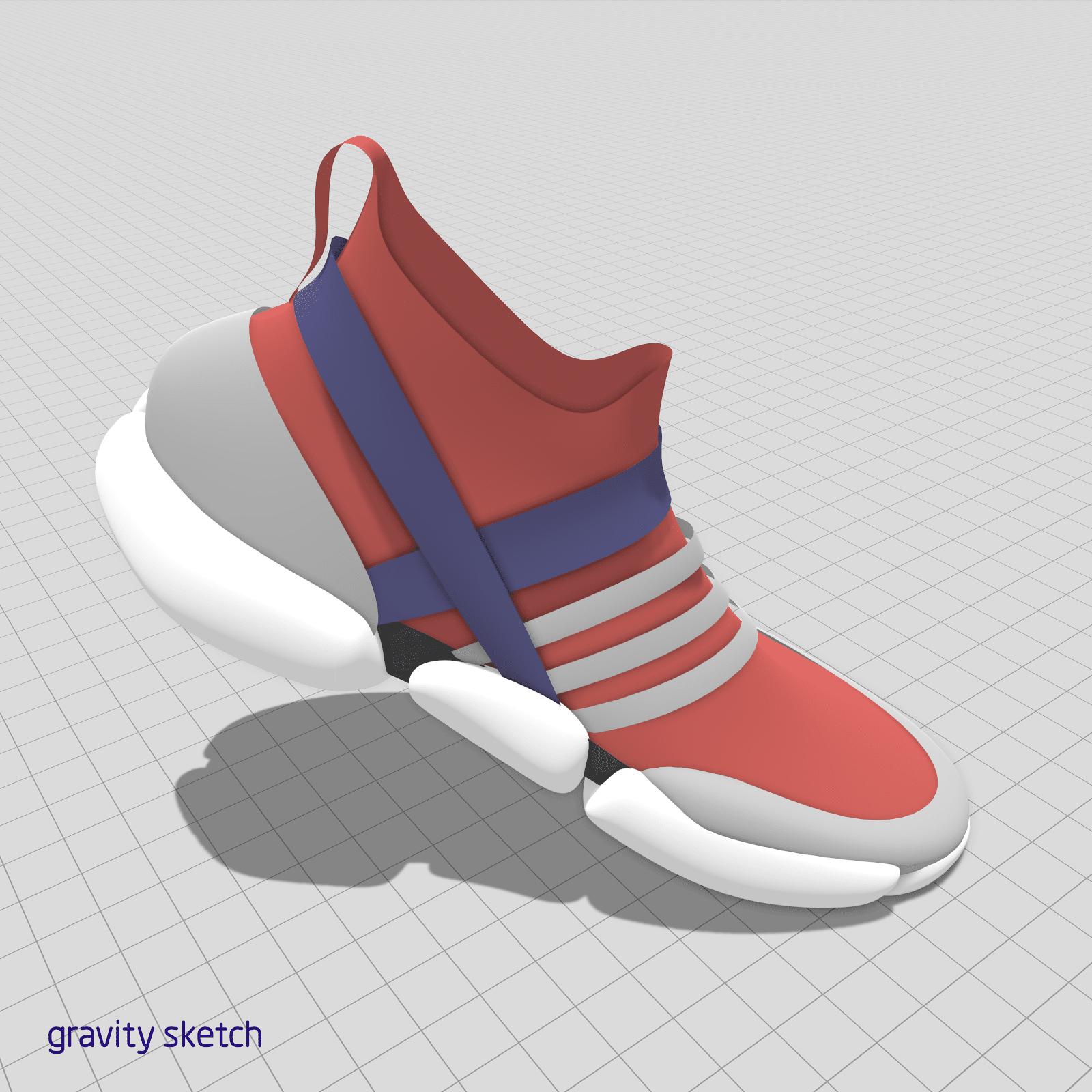 Red, grey & blue shoe designed in Gravity Sketch by Sosa Fresh