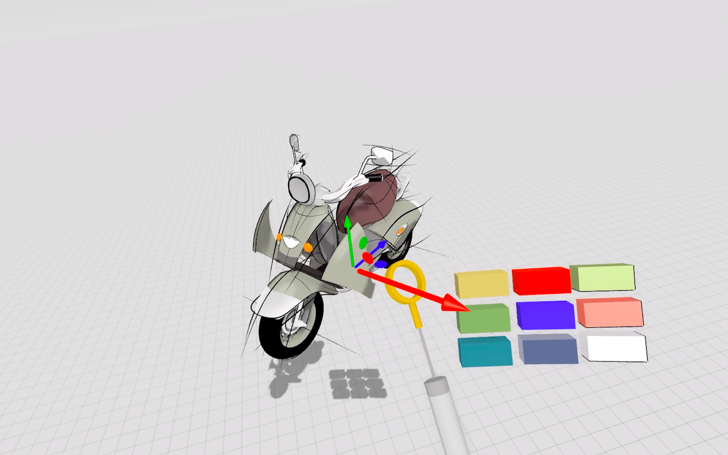 New tool belt in Gravity Sketch with scooter bike design, color palette and realistic measuring tape graphics