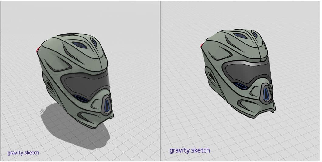 Gravity Sketch on Oculus Rift / Rift S or HTC Vive and on Oculus Quest (no shadow) being compared, artwork by Adam Paquette