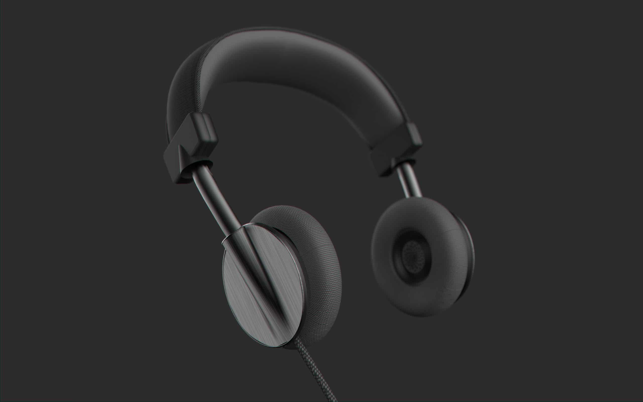 Black headset sketched in Gravity Sketch and rendered in KeyShot