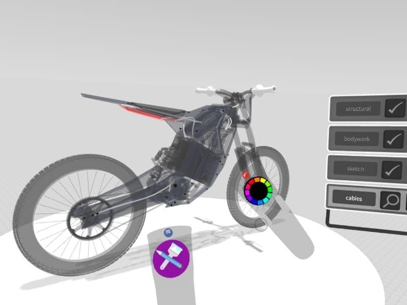 Reference geometry of bike from Solidworks imported into Gravity Sketch for correct sizing and scale by Alex Hodge