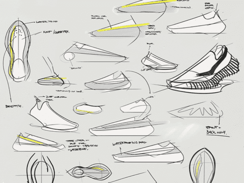 Footwear design - Initial ideation using pen and paper by Elisa Payer, Freelance footwear designer