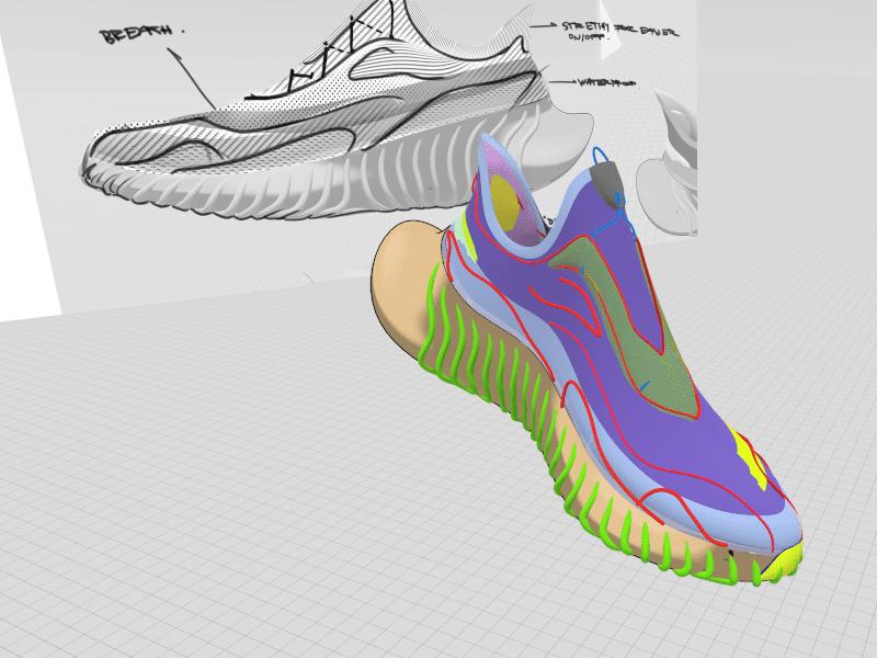 Final 3D footwear design as seen in Gravity Sketch by Elisa Payer