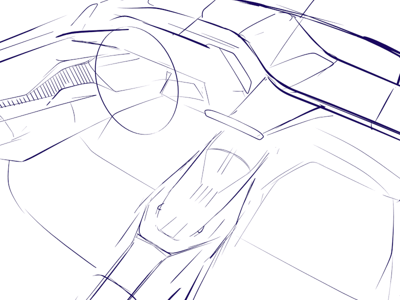 Rough line sketching done in Gravity Sketch by Automotive designers at Hūstle, a Design Consulting Agency