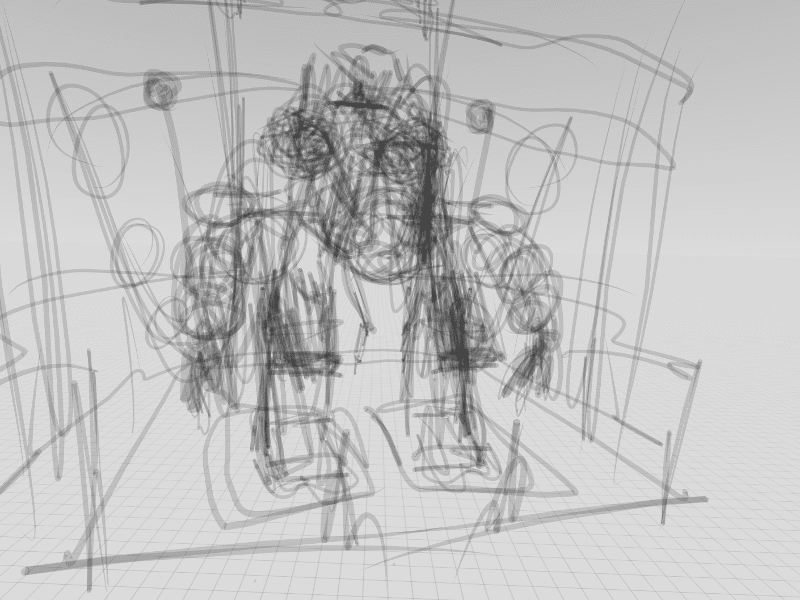 Rough outline of robot sketched in Gravity Sketch, with reference images brought in via LandingPad by Min Guen