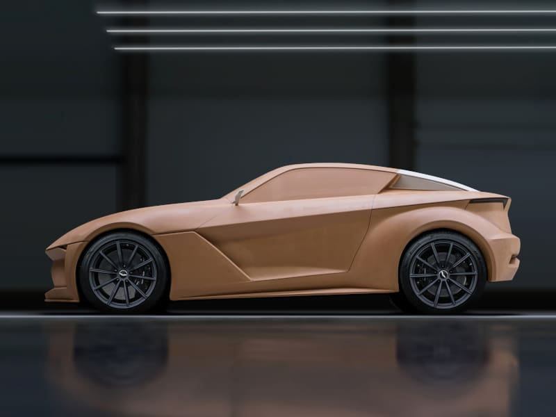 Full scale clay model of car created with DT-Mill high speed milling machine without clay modeller support by Štěpán Král