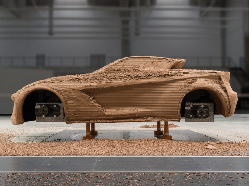 Full scale clay model of car milled using Gravity Sketch. Data exported as an IGES file into Tebis, by Štěpán Král