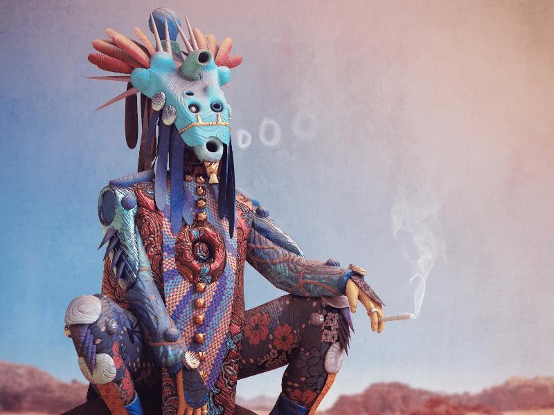 Final render of shaman done in Substance Painter, with post-processing in Photoshop by Digital Designer, Durk van der Meer