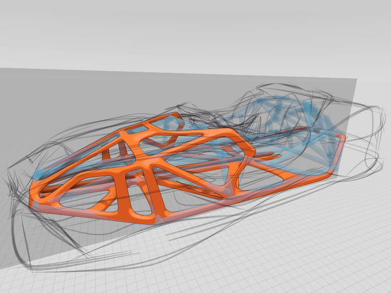Gravity Sketch - Rough car layout creation using SubD, ink tool used to sketch outline of body by James Robbins