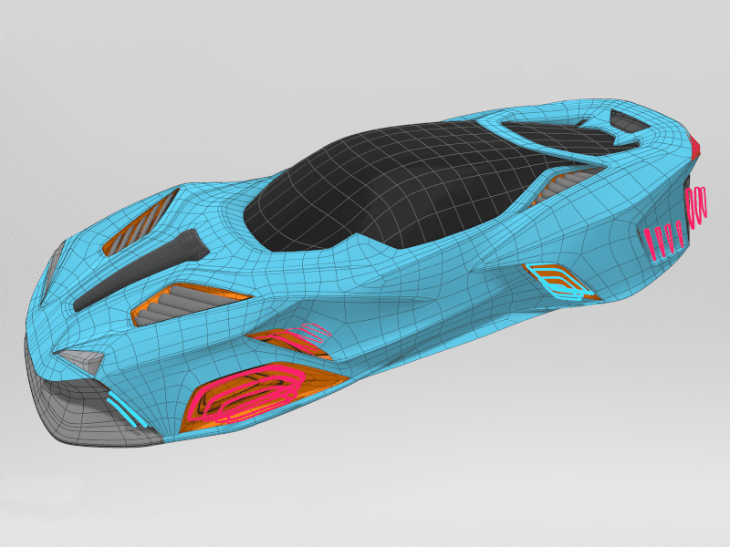 Finished SubD surfaces showing wireframe and topology of car in Gravity Sketch by Senior Designer, James Robbins