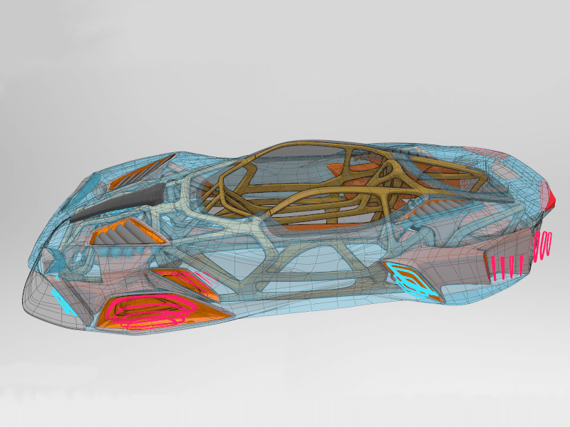 Outer surface set to transparent to show internal parts of car as seen in Gravity Sketch by Senior Designer, James Robbins