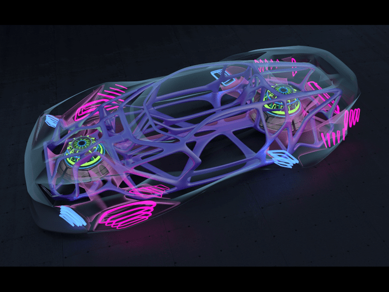 Car model exported as .fbx file from Gravity Sketch and brought into Vred for final render, by Senior Designer James Robbins