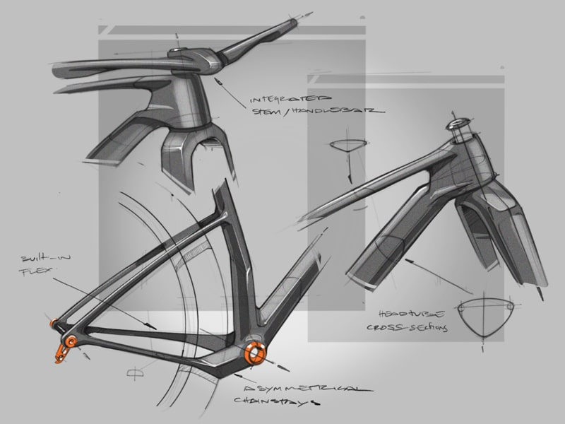Defining features with pen & paper sketch of bicycle parts by Industrial Design Consultant, Fed Rios