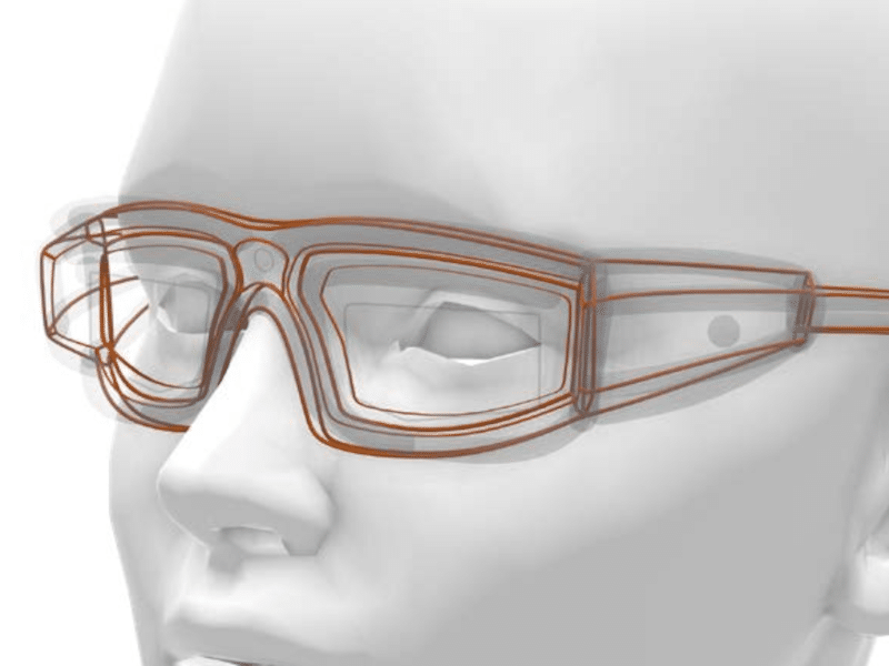 Wireframe sketching in Gravity Sketch of glasses on a face by Lucas Van Dorpe, Industrial Designer at Achilles Design