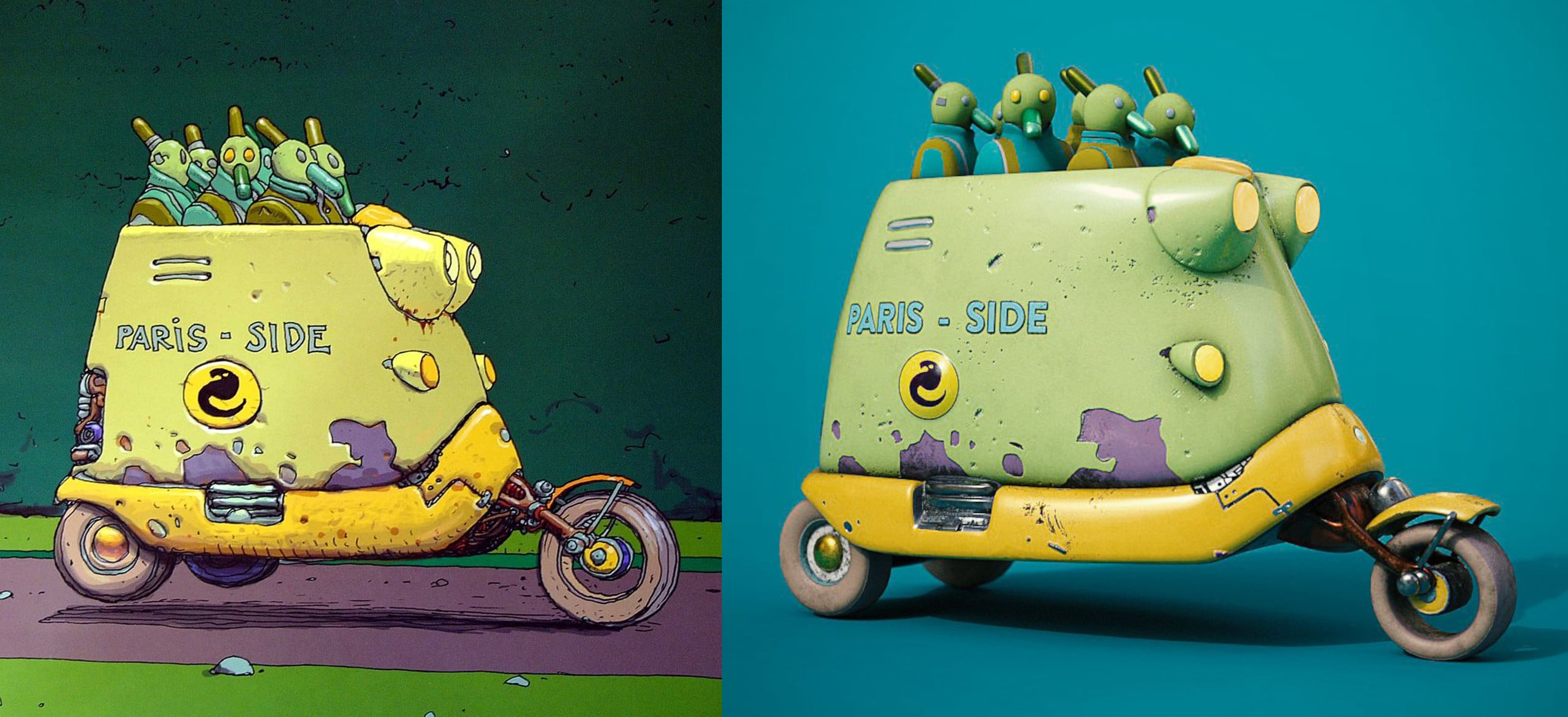Durk's Moebius vehicle experiment modeled in Gravity Sketch. Image on left shows the original artwork by Jean Giraud.