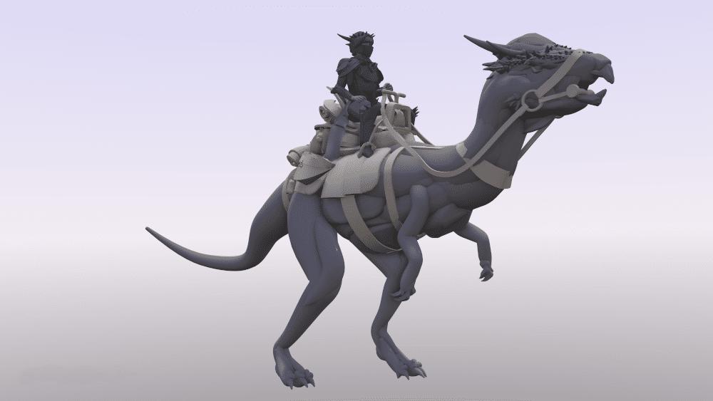 VR design of dinosaur riders in Gravity Sketch