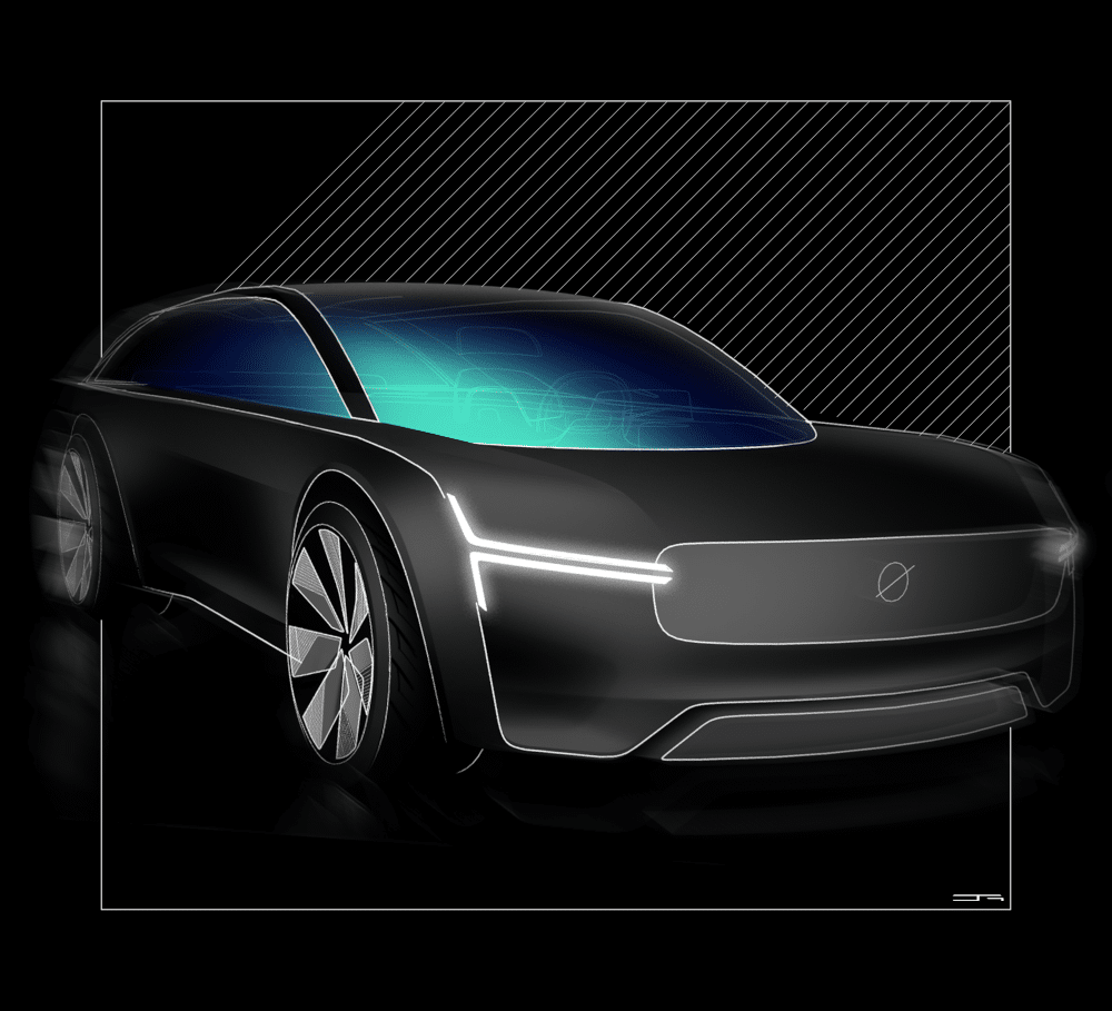Car exterior design from the front view, created in Gravity Sketch