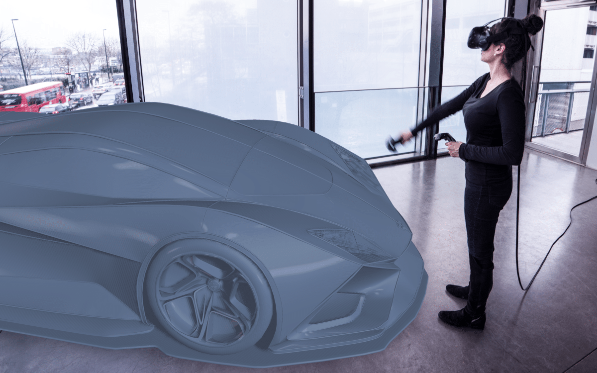Mixed reality shot of a car design and a person wearing a VR headset
