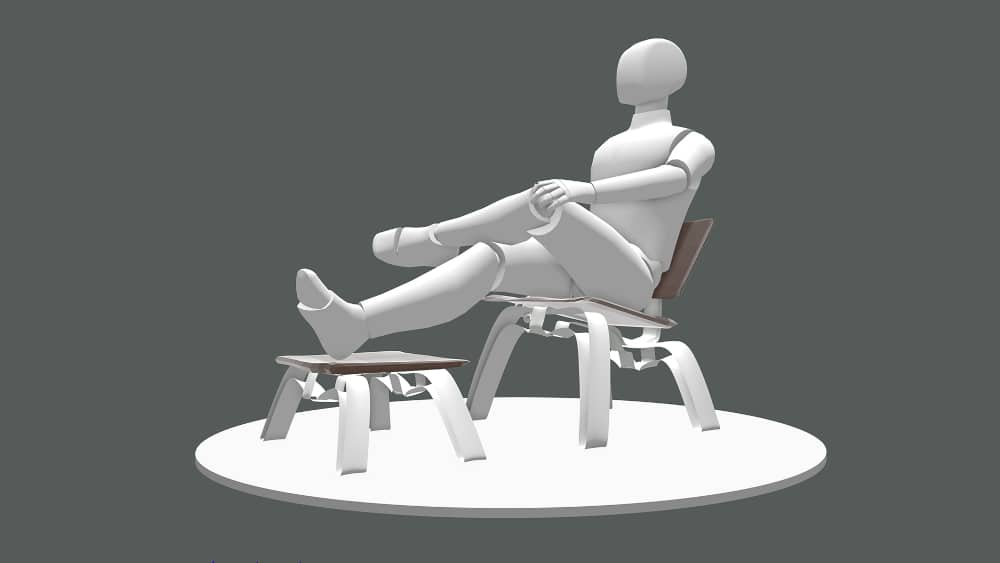 Mannequin sitting on a chair, modelled in Gravity Sketch