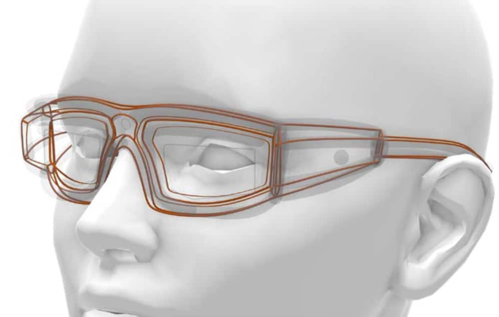 Wireframe sketch of glasses over the top of a mannequin head