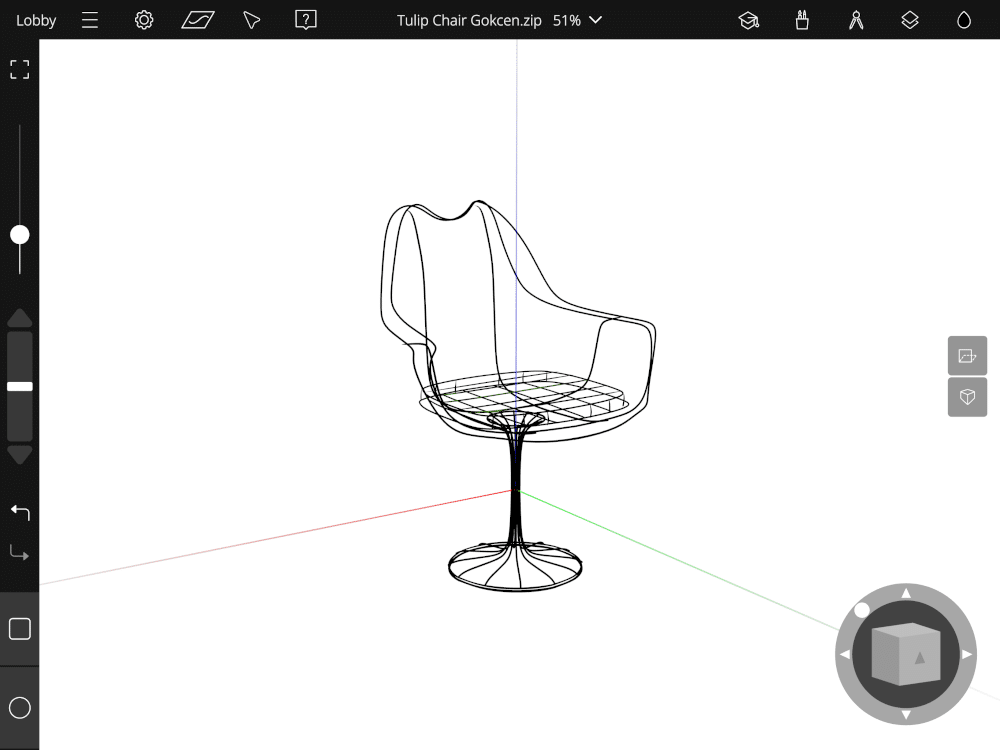 Tulip chair sketched on Gravity Sketch iPad app