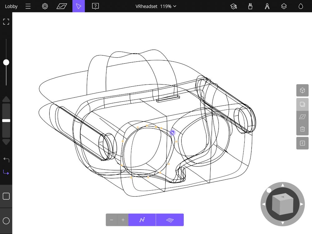 VR headset sketched in Gravity Sketch iPad app