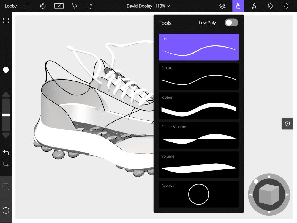 Screenshot from Gravity Sketch iPad app